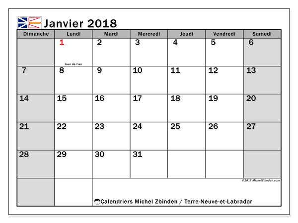 Calendrier janvier 2018, avec les jours fériés de Terre-Neuve-et-Labrador. Calendrier mensuel à imprimer gratuit.