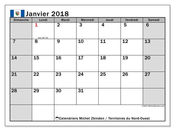Calendrier janvier 2018, avec les jours fériés des Territoires du Nord-Ouest. Calendrier mensuel à imprimer gratuit.