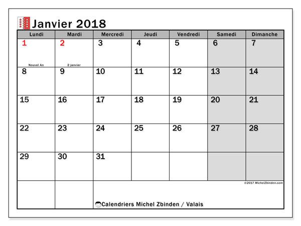 Calendrier janvier 2018, avec les jours fériés du Canton du Valais. Calendrier imprimable gratuit.