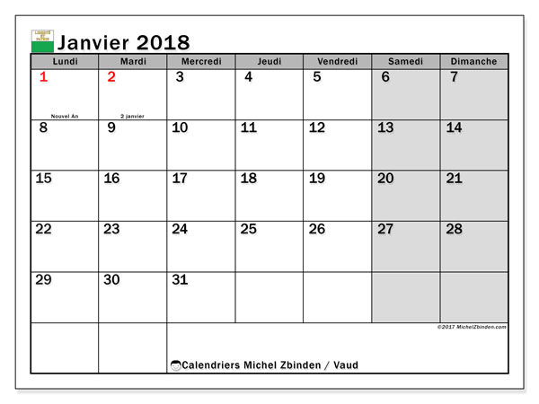 Calendrier janvier 2018, avec les jours fériés du Canton de Vaud. Calendrier gratuit à imprimer.