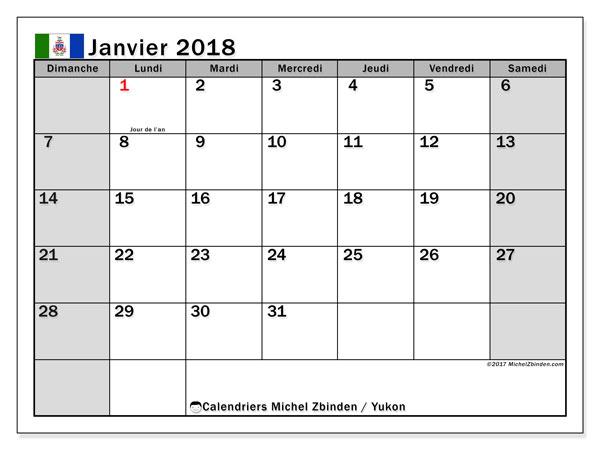 Calendrier à imprimer gratuit janvier 2018, avec les jours fériés du Yukon
