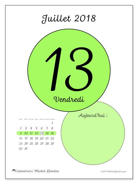 Calendrier juillet 2018 (45-13LD). Calendrier pour la journée à imprimer gratuit.