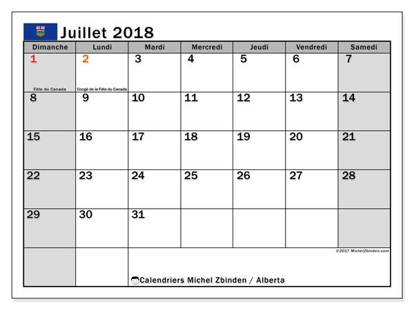 Calendrier juillet 2018, avec les jours fériés de l'Alberta. Calendrier mensuel à imprimer gratuit.