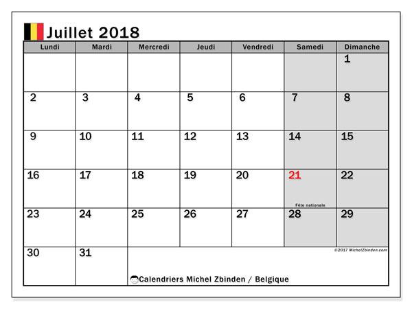 Calendrier juillet 2018, avec les jours fériés de la Belgique. Calendrier mensuel à imprimer gratuit.