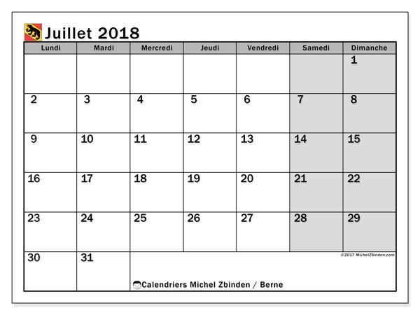 Calendrier juillet 2018, avec les jours fériés du Canton de Berne. Calendrier à imprimer gratuit.