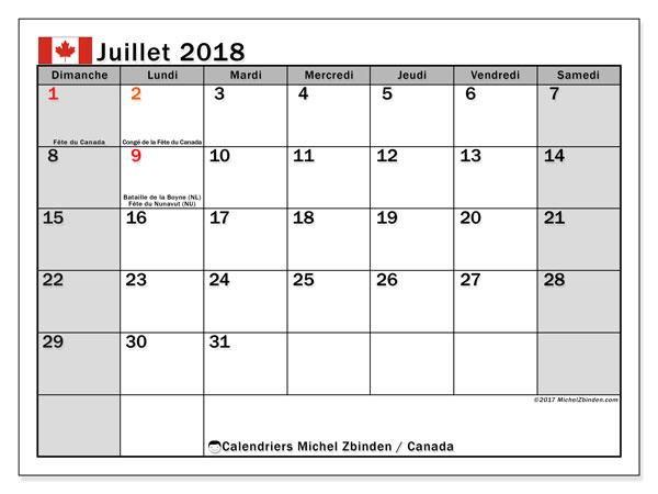 Calendrier juillet 2018, avec les jours fériés du Canada. Calendrier à imprimer gratuit.