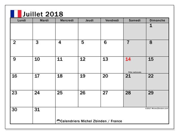 Calendrier à imprimer gratuit juillet 2018, avec les jours fériés de la France