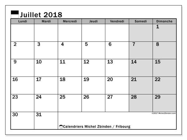 Calendrier juillet 2018, avec les jours fériés du Canton de Fribourg. Calendrier mensuel à imprimer gratuit.
