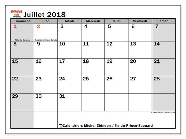 Calendrier juillet 2018, avec les jours fériés de l'Île-du-Prince-Edouard. Calendrier pour le mois à imprimer gratuit.