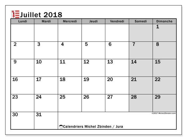 Calendrier juillet 2018, avec les jours fériés du Canton du Jura. Organisateur à imprimer gratuit.