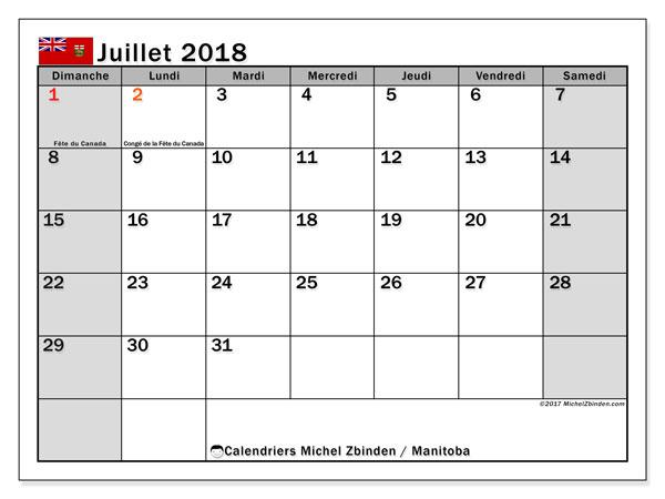 Calendrier juillet 2018, avec les jours fériés du Manitoba. Planificateur à imprimer gratuit.