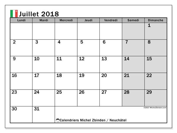 Calendrier juillet 2018, avec les jours fériés du Canton de Neuchâtel. Calendrier mensuel à imprimer gratuit.