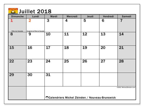 Calendrier juillet 2018, avec les jours fériés du Nouveau-Brunswick. Calendrier gratuit à imprimer.
