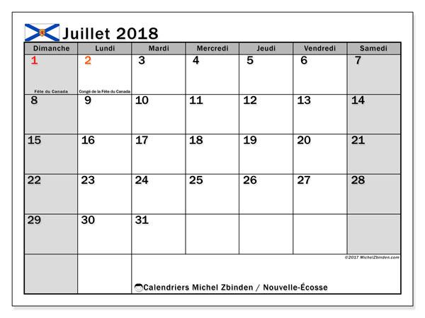 Calendrier juillet 2018, avec les jours fériés de la Nouvelle-Écosse. Calendrier imprimable gratuit.