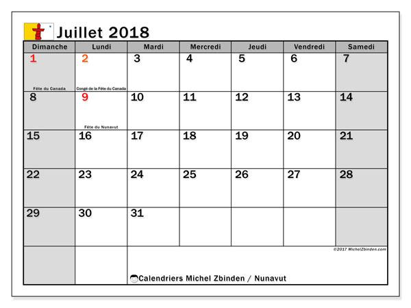 Calendrier juillet 2018, avec les jours fériés du Nunavut. Calendrier mensuel à imprimer gratuit.