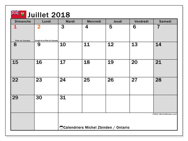 Calendrier juillet 2018, avec les jours fériés de l'Ontario. Calendrier à imprimer gratuit.