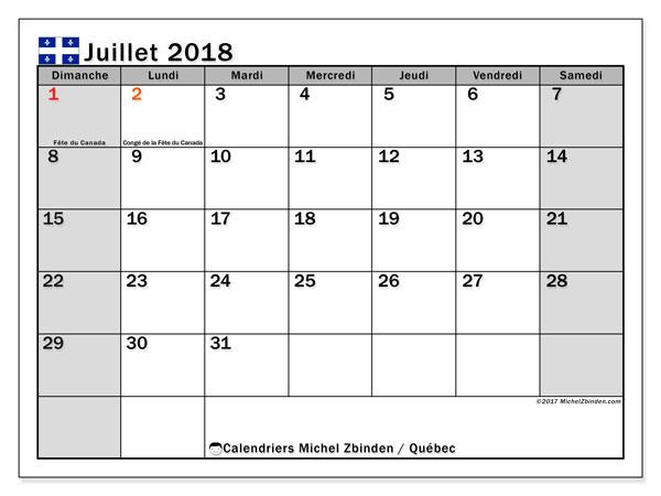 Calendrier juillet 2018, avec les jours fériés du Québec. Calendrier mensuel à imprimer gratuit.