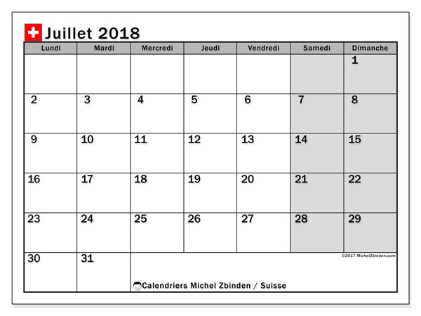 Calendrier juillet 2018, avec les jours fériés de la Suisse. Calendrier à imprimer gratuit.