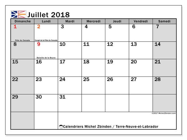 Calendrier juillet 2018, avec les jours fériés de Terre-Neuve-et-Labrador. Calendrier imprimable gratuit.