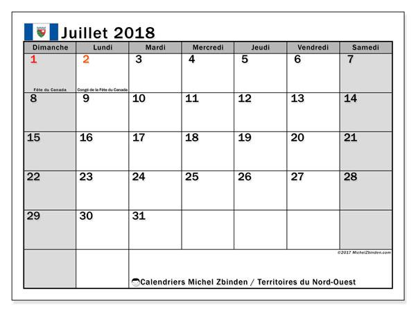 Calendrier juillet 2018, avec les jours fériés des Territoires du Nord-Ouest. Planificateur à imprimer gratuit.