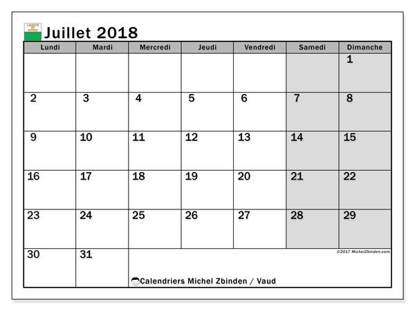 Calendrier juillet 2018, avec les jours fériés du Canton de Vaud. Planificateur à imprimer gratuit.