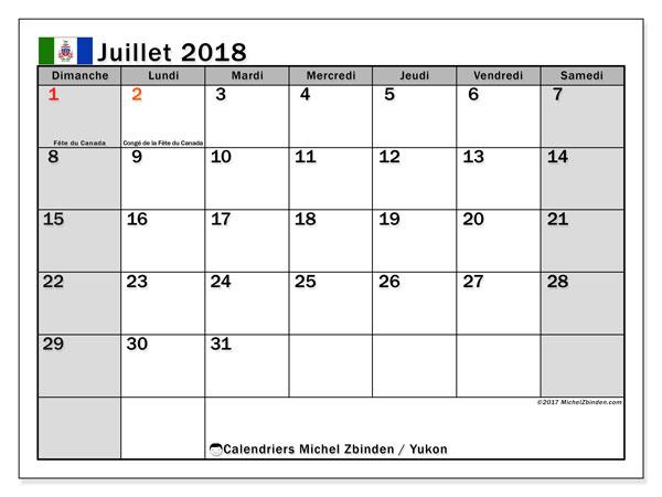 Calendrier juillet 2018, avec les jours fériés du Yukon. Calendrier à imprimer gratuit.