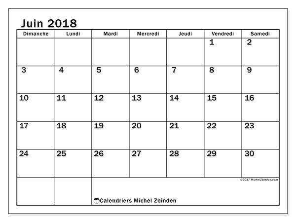 Calendrier juin 2018 (50DS). Calendrier pour le mois à imprimer gratuit.