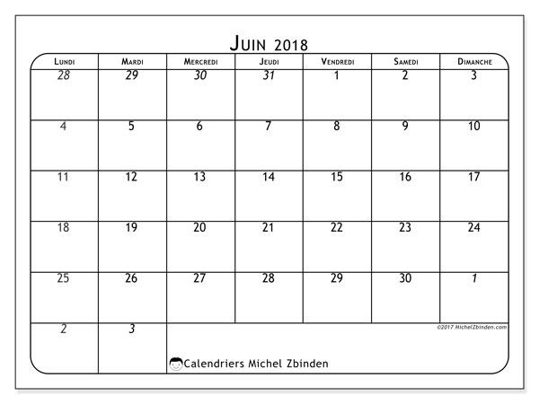 Calendrier juin 2018 (67LD). Organisateur à imprimer gratuit.
