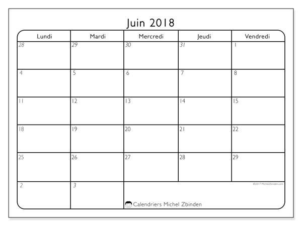 calendrier a imprimer juin 2018