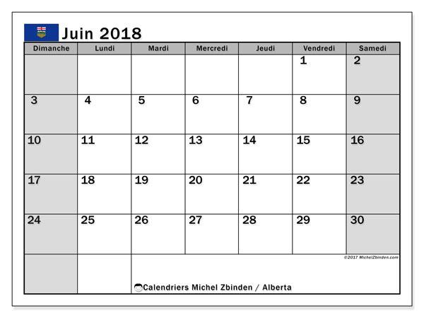Calendrier juin 2018, avec les jours fériés de l'Alberta. Calendrier mensuel à imprimer gratuit.