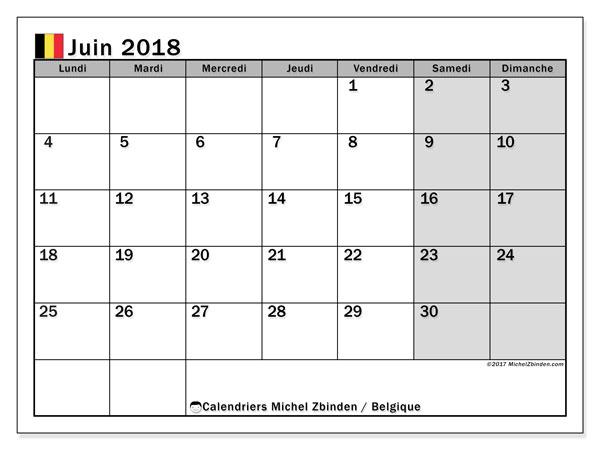 Calendrier juin 2018, avec les jours fériés de la Belgique. Calendrier mensuel à imprimer gratuit.