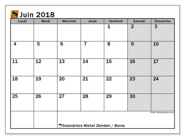 Calendrier juin 2018, avec les jours fériés du Canton de Berne. Calendrier imprimable gratuit.
