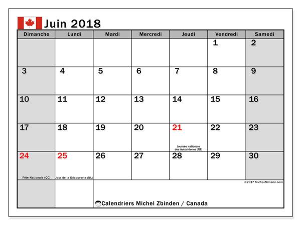 Calendrier juin 2018, avec les jours fériés du Canada. Planificateur à imprimer gratuit.