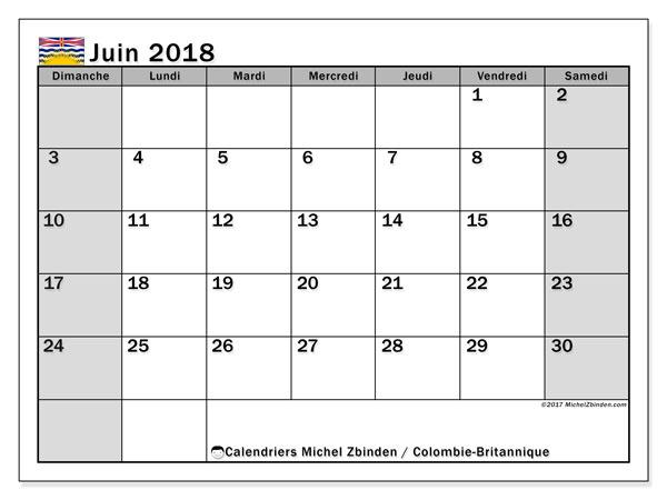 Calendrier juin 2018, avec les jours fériés de la Colombie-Britannique. Calendrier à imprimer gratuit.