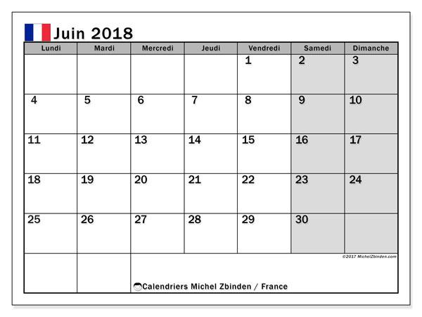 Calendrier à imprimer gratuit juin 2018, avec les jours fériés de la France