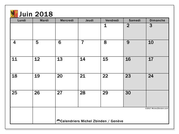 Calendrier juin 2018, avec les jours fériés du Canton de Genève. Organisateur à imprimer gratuit.