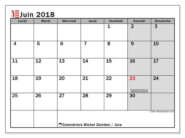 Calendrier juin 2018, avec les jours fériés du Canton du Jura. Calendrier imprimable gratuit.