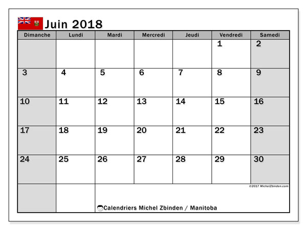 Calendrier juin 2018, avec les jours fériés du Manitoba. Calendrier mensuel à imprimer gratuit.
