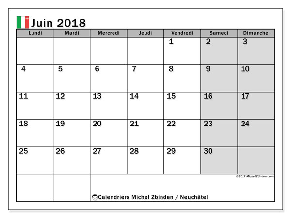 Calendrier juin 2018, avec les jours fériés du Canton de Neuchâtel. Calendrier mensuel à imprimer gratuit.