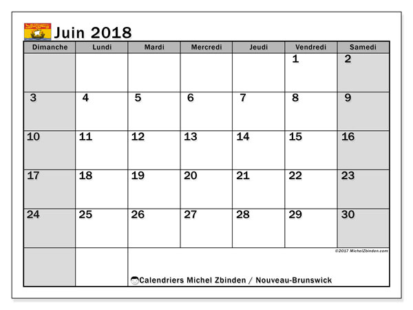 Calendrier juin 2018, avec les jours fériés du Nouveau-Brunswick. Calendrier imprimable gratuit.