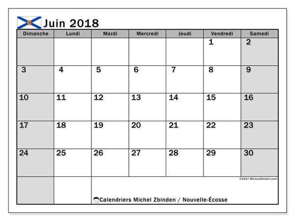 Calendrier juin 2018, avec les jours fériés de la Nouvelle-Écosse. Planificateur à imprimer gratuit.