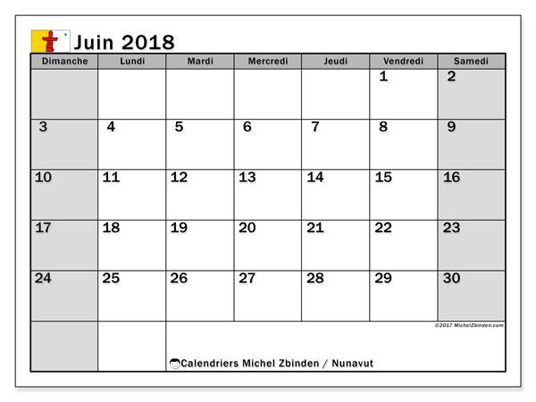Calendrier juin 2018, avec les jours fériés du Nunavut. Planificateur à imprimer gratuit.