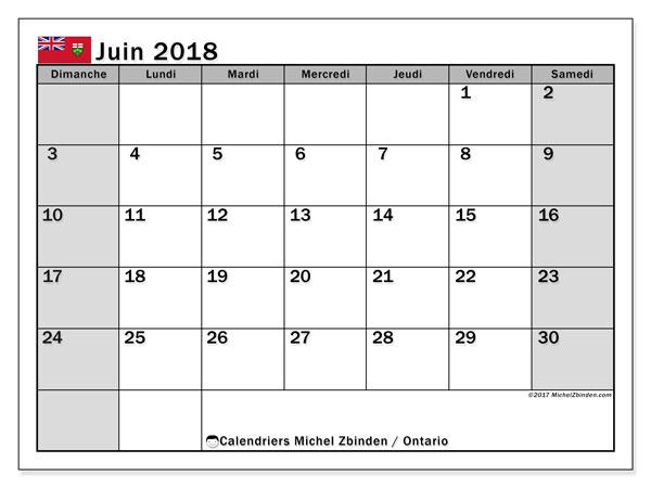 Calendrier juin 2018, avec les jours fériés de l'Ontario. Calendrier mensuel à imprimer gratuit.
