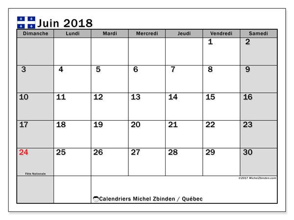 Calendrier juin 2018, avec les jours fériés du Québec. Calendrier mensuel à imprimer gratuit.