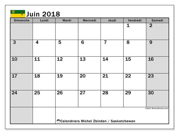 Calendrier juin 2018, avec les jours fériés de la Saskatchewan. Calendrier imprimable gratuit.