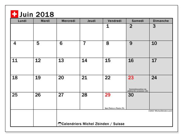 Calendrier juin 2018, avec les jours fériés de la Suisse. Calendrier à imprimer gratuit.