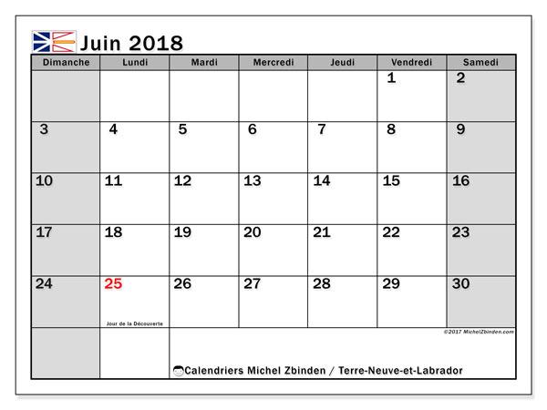 Calendrier juin 2018, avec les jours fériés de Terre-Neuve-et-Labrador. Calendrier imprimable gratuit.