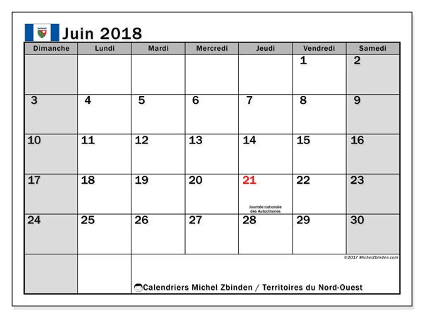 Calendrier juin 2018, avec les jours fériés des Territoires du Nord-Ouest. Calendrier gratuit à imprimer.