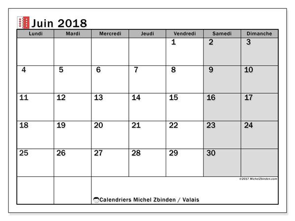 Calendrier juin 2018, avec les jours fériés du Canton du Valais. Calendrier pour le mois à imprimer gratuit.