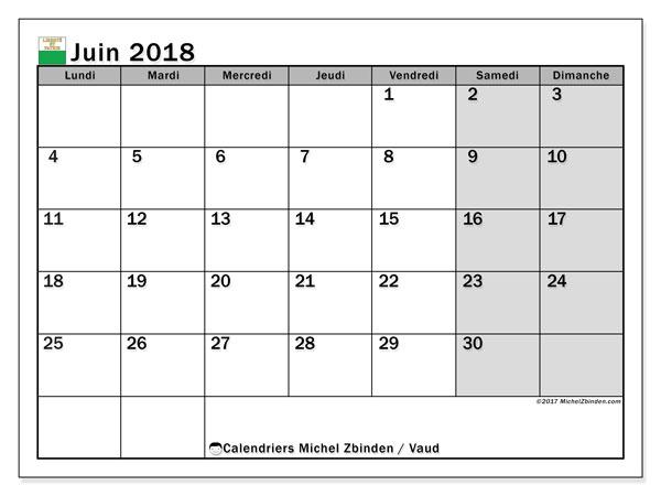 Calendrier juin 2018, avec les jours fériés du Canton de Vaud. Organisateur à imprimer gratuit.